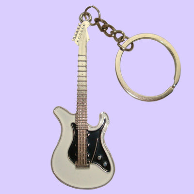 Bassin and Brown Guitar Keyring - White/Black/Silver