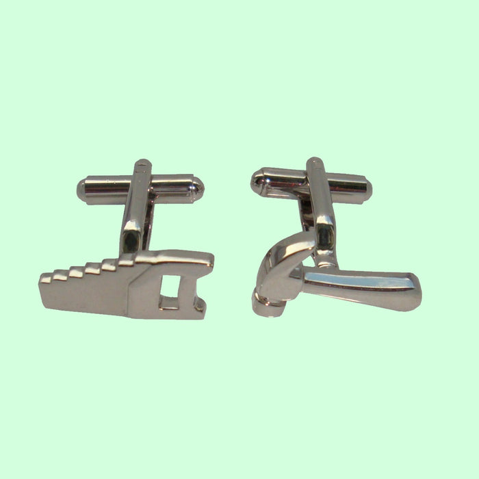 Bassin and Brown Silver Hammer and Saw Cufflinks