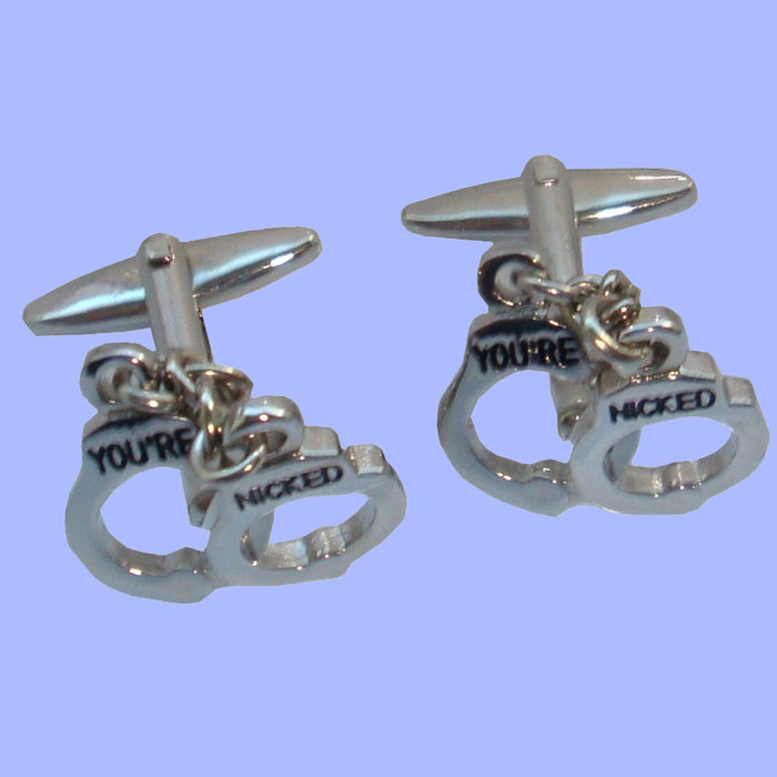 Bassin and Brown Silver Handcuff Cufflinks