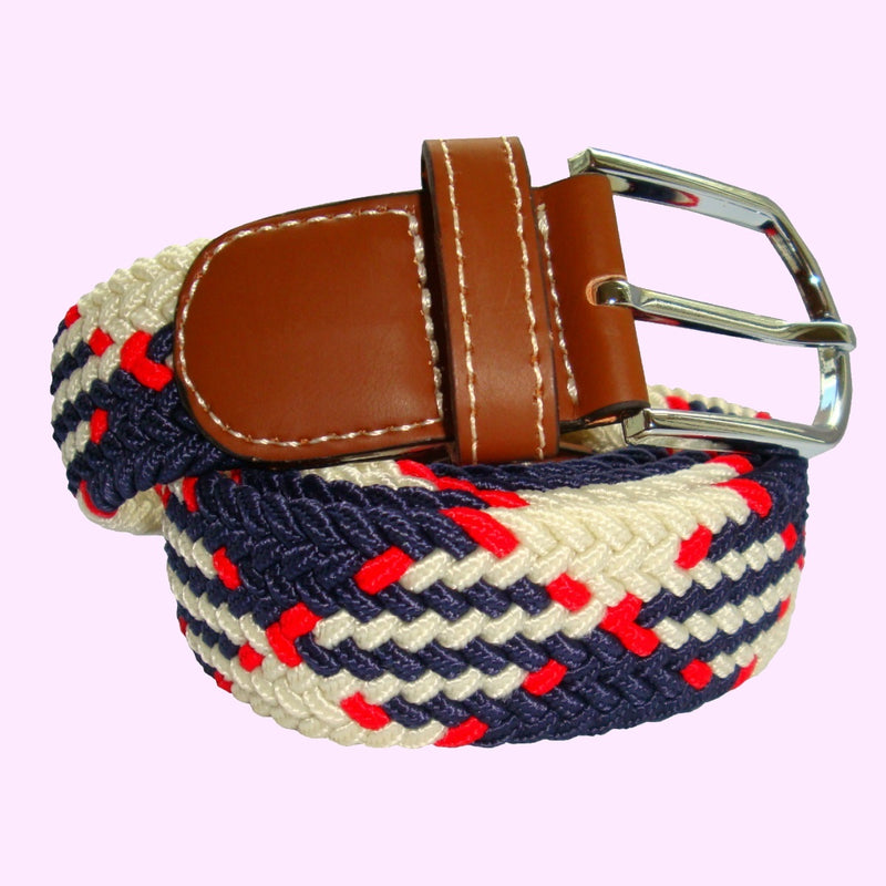 Bassin and Brown Jagged Stripe Design - Woven Elasticated Fabric - Silver Toned Buckle Belt - Navy/Red/White
