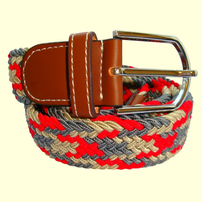 Bassin and Brown Jagged Stripe Design - Woven Elasticated Fabric - Silver Toned Buckle Belt - Beige/Red/Grey