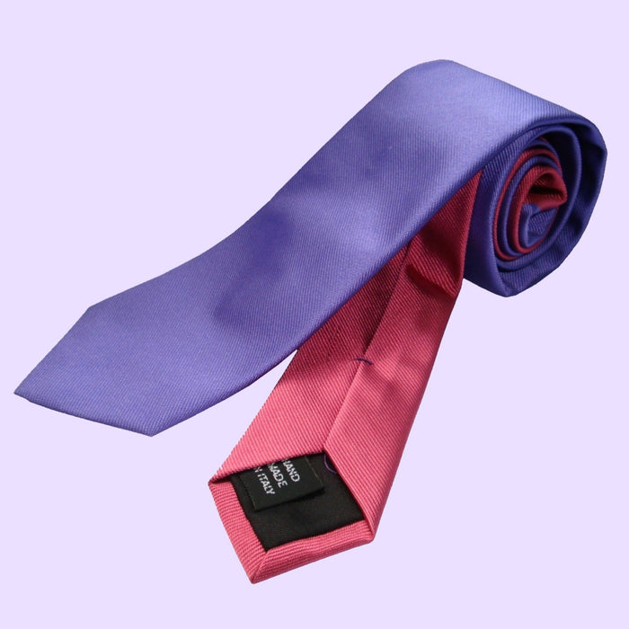 Bassin and Brown Two Colour Plain Woven Silk Tie Lilac/Light Pink