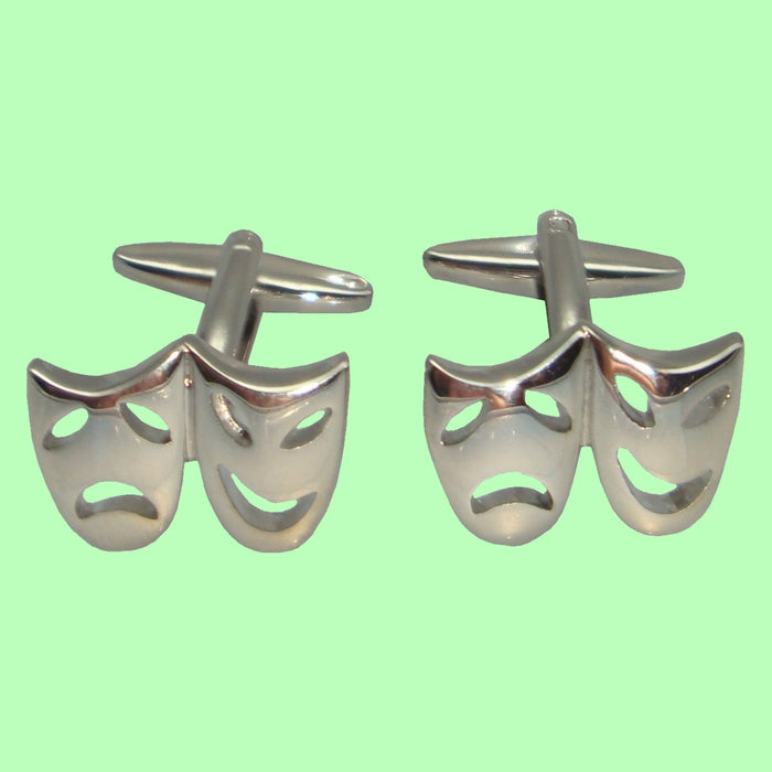 Bassin and Brown Silver Mask Happy and Sad Cufflinks