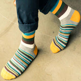 Bassin and Brown Multi Medium and Thin Stripe Socks - Gold/Green/Brown/Blue/Grey/White