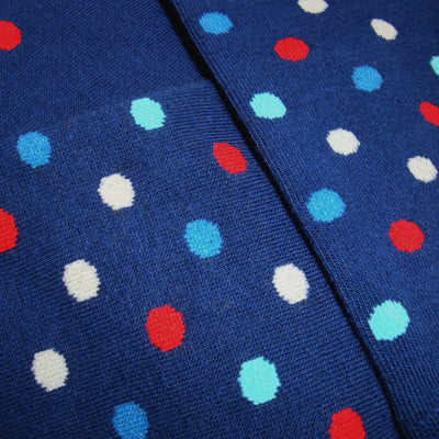 Bassin and Brown Multi Coloured Spot Socks Navy/Blue/Red/White/Light Blue