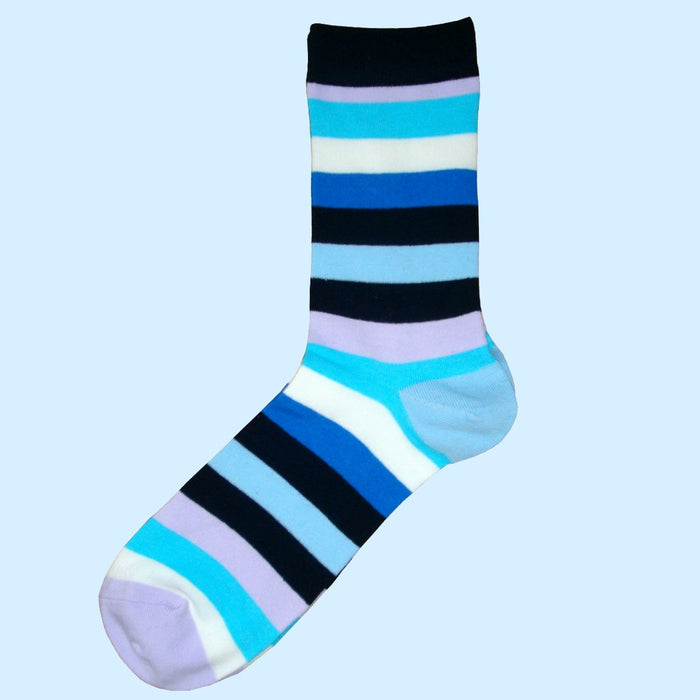 Bassin and Brown Multi Coloured Stripe Socks Navy/Turquoise/White/Lilac/Light Blue