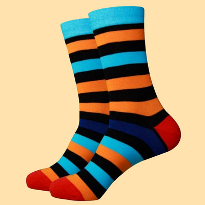 Bassin and Brown Multi Stripe with Contrasting Heel and Toe Socks Orange/Blue/Black/Royal Blue/Red