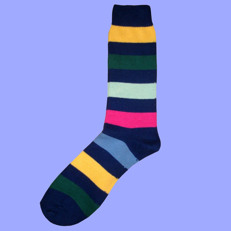Bassin and Brown Navy Multi Stripe Cotton Socks
