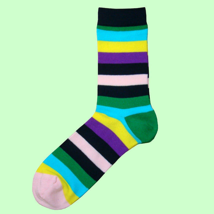 Bassin and Brown  - Multi Coloured Striped Socks Green/Navy/Purple/Yellow/Lilac/Light Blue