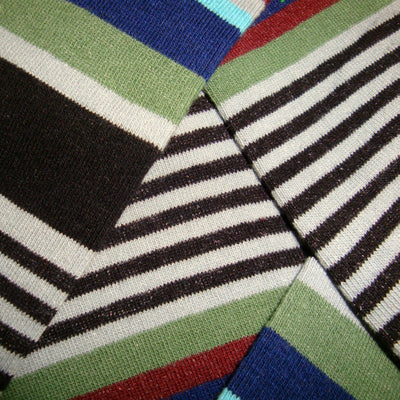 Bassin and Brown Multi Stripe Socks - Grey.Wine.Blue.Turquoise.Green.Black