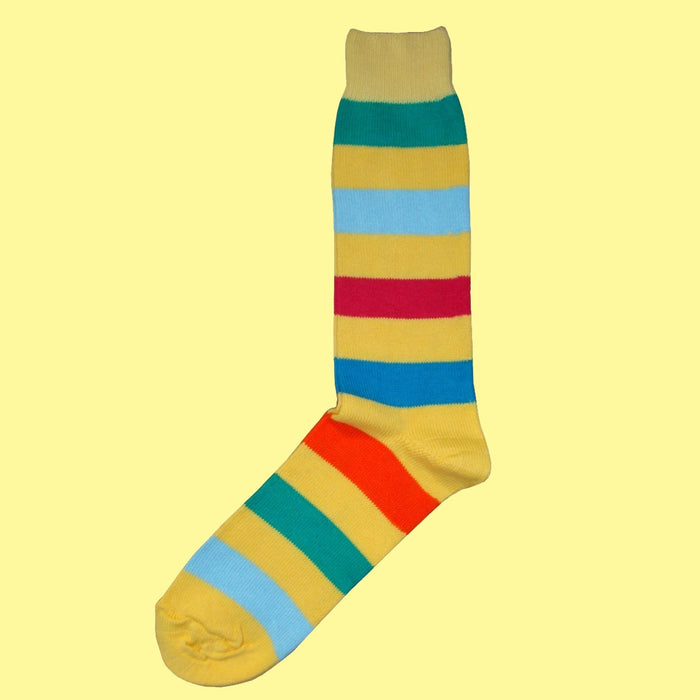 Bassin and Brown Yellow Multi Stripe Cotton Socks