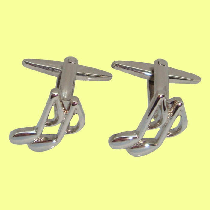 Bassin and Brown Silver Musical Note Cufflinks