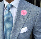 Bassin and Brown Flower Jacket Lapel Pin - Pink