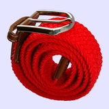 Bassin and Brown Plain Woven Fabric Elasticated - Silver Toned Buckle Belt - Red
