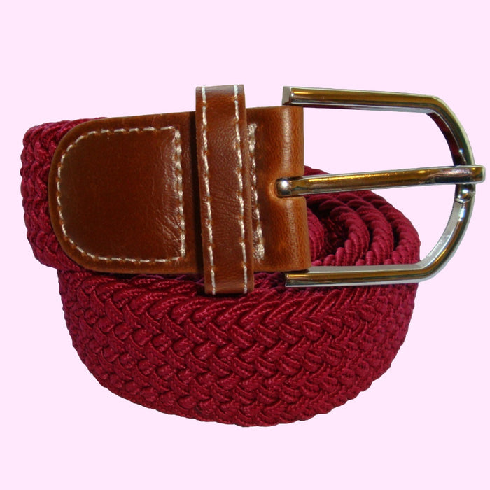 Bassin and Brown Plain Elasticated Woven Fabric - Silver Toned Buckle Belt - Wine