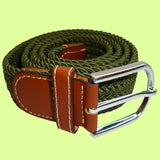 Bassin and Brown Plain Elasticated Woven Belt - Silver Toned Buckle - Khaki Green