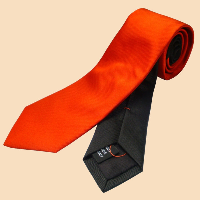 Bassin and Brown Two Colour Plain Woven Silk Tie Orange/Black