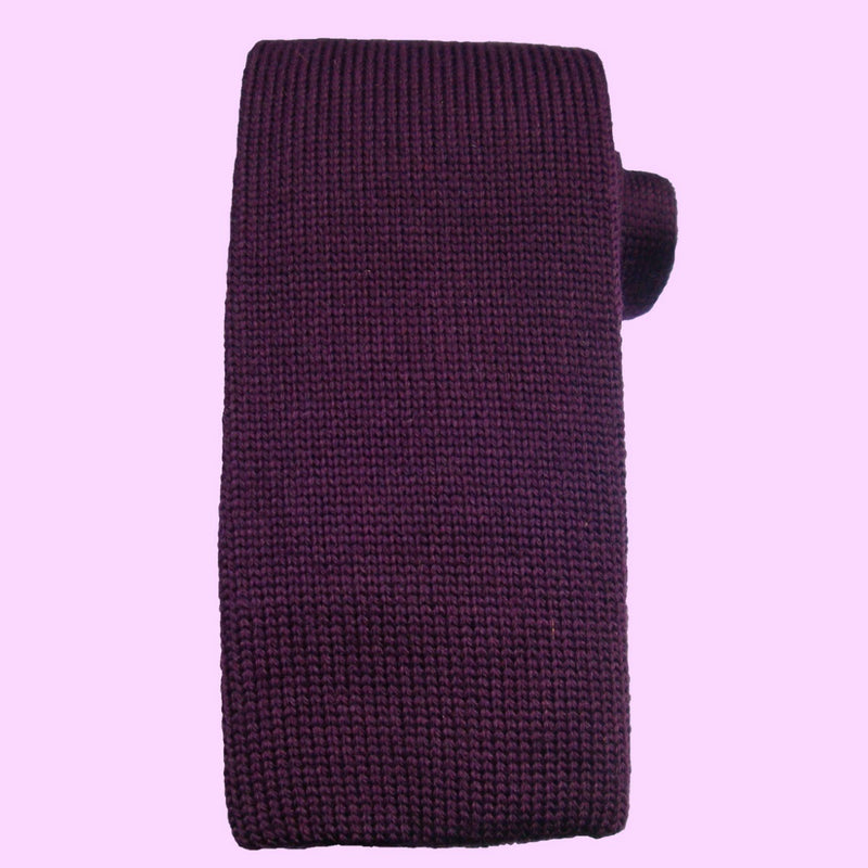 Bassin and Brown Plain Knitted Wool Tie Purple