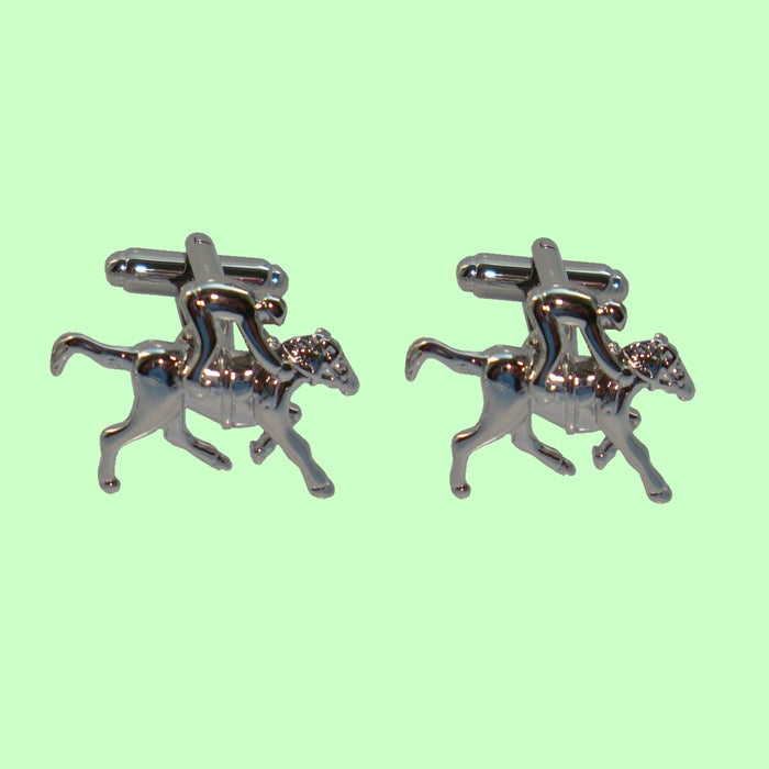 Bassin and Brown Silver Horse Racing - Cufflinks