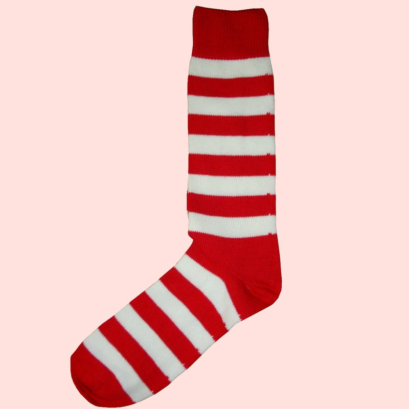 Bassin and Brown - Red and White - Hooped Stripe Cotton Socks