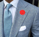 Bassin and Brown Flower Jacket Lapel Pin - Red