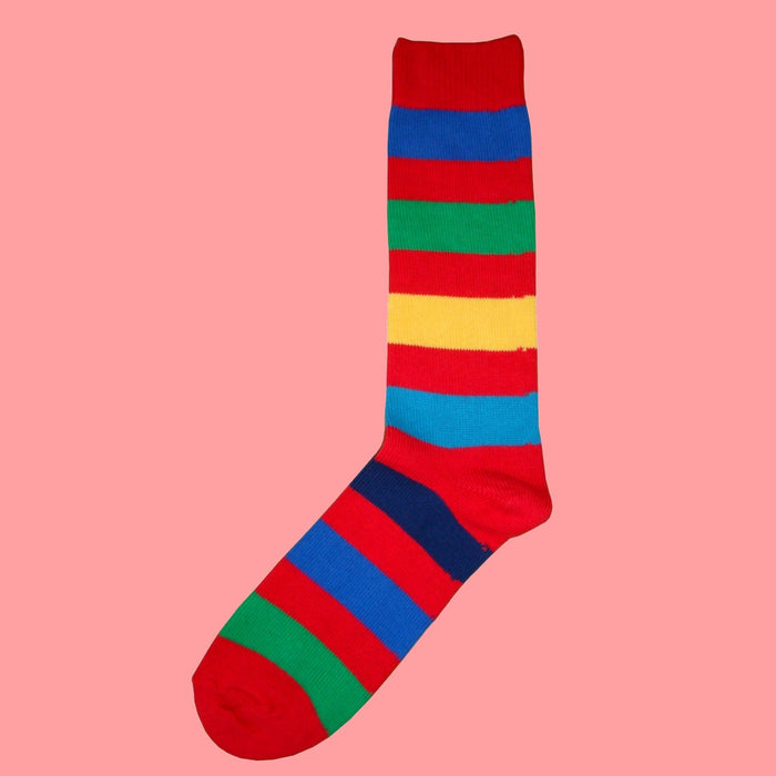 Bassin and Brown Red Multi Stripe Cotton Socks