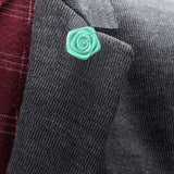 Bassin and Brown Mint Green Rose Floral Lapel Pin