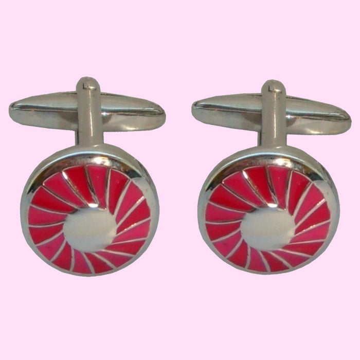 Bassin and Brown Round Concentric Cufflinks - Red/Silver