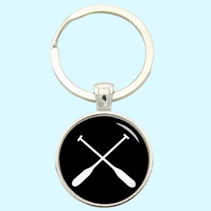Bassin and Brown  - Crossed Oars Rowing Keyring - Black and White