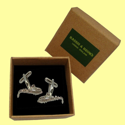 Bassin and Brown Silver Saxophone Cufflinks