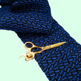 Bassin and Brown Scissors Gold Tie Bar