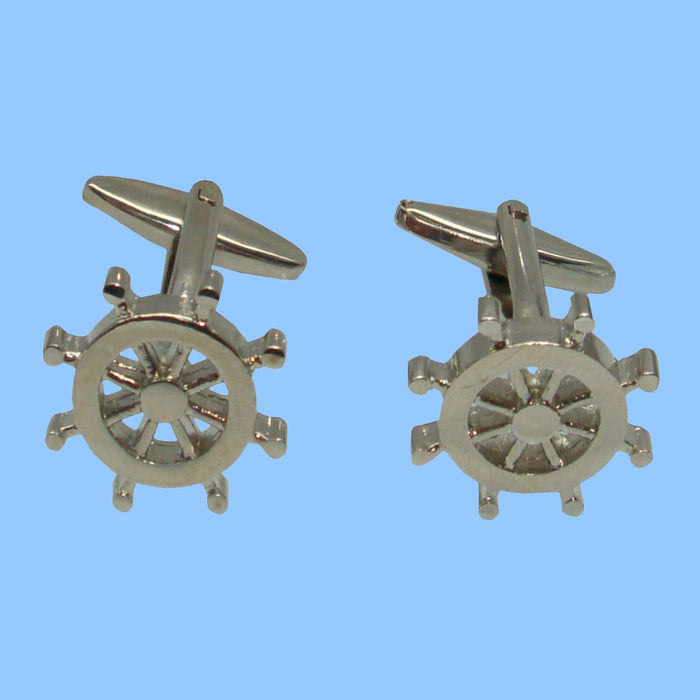 Bassin and Brown Silver Ships Wheel Cufflinks
