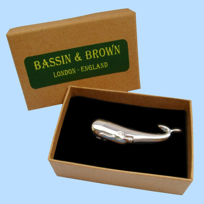 Bassin and Brown Whale Silver Tie Bar