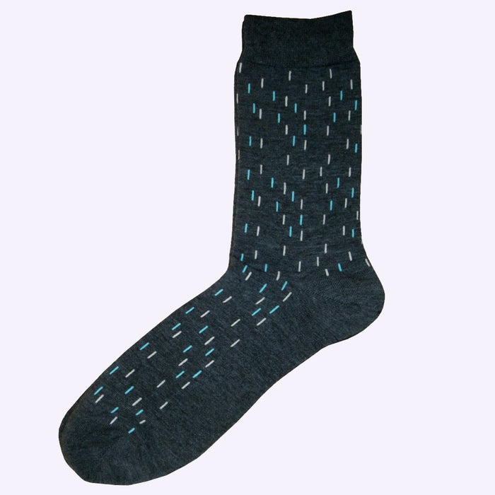 Bassin and Brown Thin Line Socks Charcoal/Turquoise/White