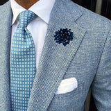 Bassin and Brown Spot Flower Jacket Lapel Pin - Navy/White