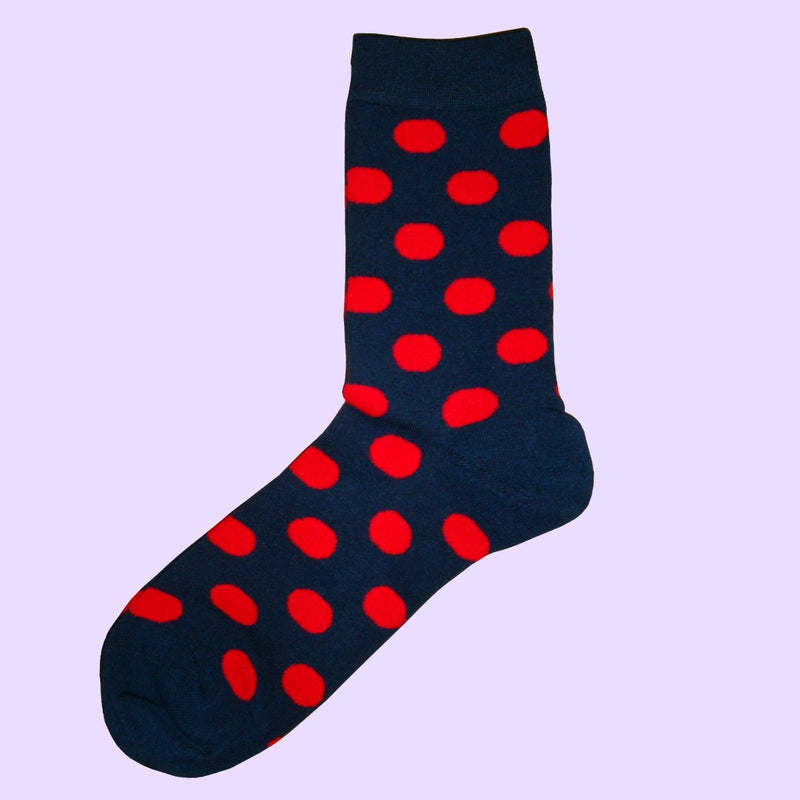 Bassin and Brown Spotted Socks -  Navy and Red