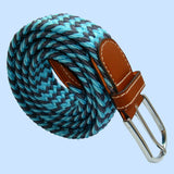 Bassin and Brown Stripe Elasticated Woven Belt - Blue and Grey
