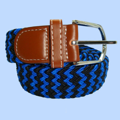 Bassin and Brown Stripe Woven - Elasticated Fabric - Silver Toned Buckle Belt - Blue/Black