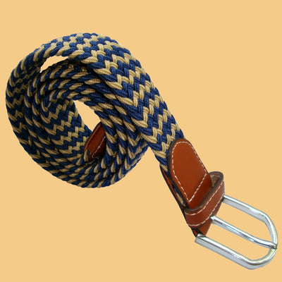 Bassin and Brown Stripe Elasticated Woven Fabric - Silver Toned Buckle Belt - Beige/Navy