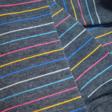 Bassin and Brown Horizontal Thin Striped Socks Charcoal/Blue/Yellow/Pink/Purple/White