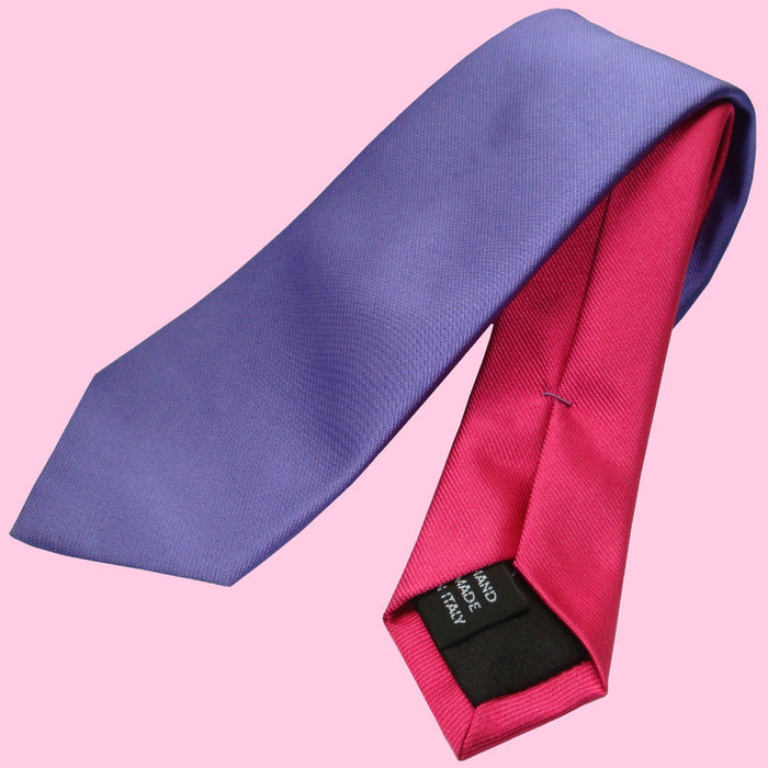 Bassin and Brown Two Colour Plain Woven Silk Tie Lilac/Cerise Pink