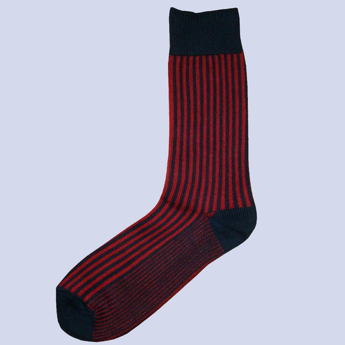 Bassin and Brown Vertical Stripe Cotton Socks - Navy/Red