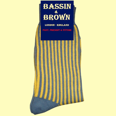 Bassin and Brown Yellow/Blue - Vertical Stripe Cotton Socks