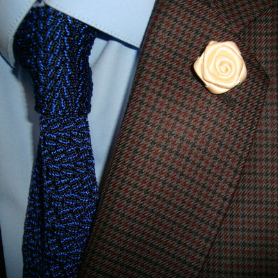 Bassin and Brown White Rose Jacket Lapel Pin