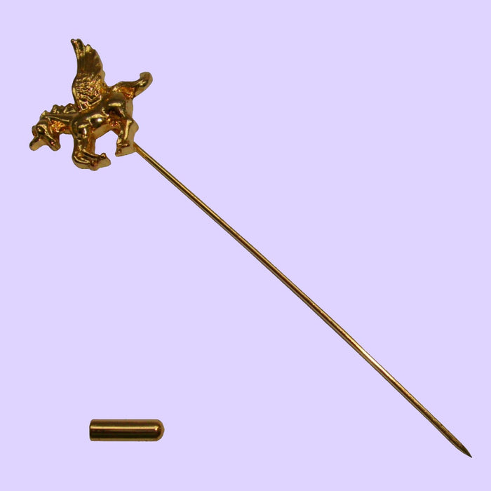 Bassin and Brown Gold Winged Unicorn Lapel Pin