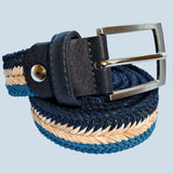 Bassin And Brown - Arrow Chevron Woven Belt - Navy. Beige and Blue
