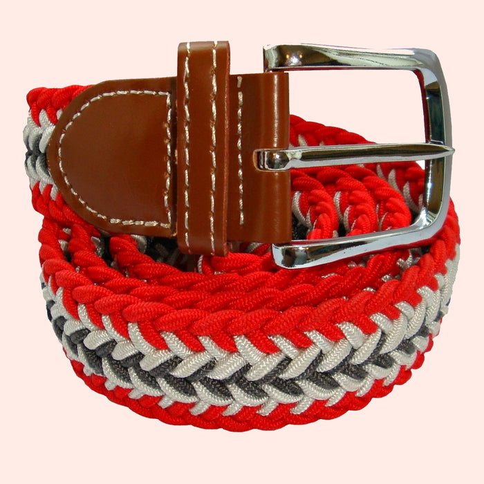 Bassin and Brown Arrow Stripe Woven Elasticated Belt - Red, White and Grey