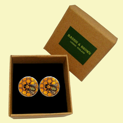Bassin and Brown - Bee Cufflinks- Black and Yellow
