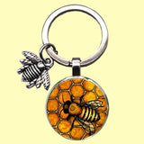 Bassin and Brown Bee Keyring- Black and Yellow