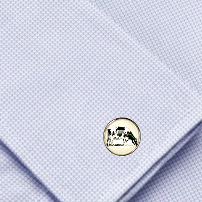 Bassin And Brown -Cow Cufflinks - White and Black